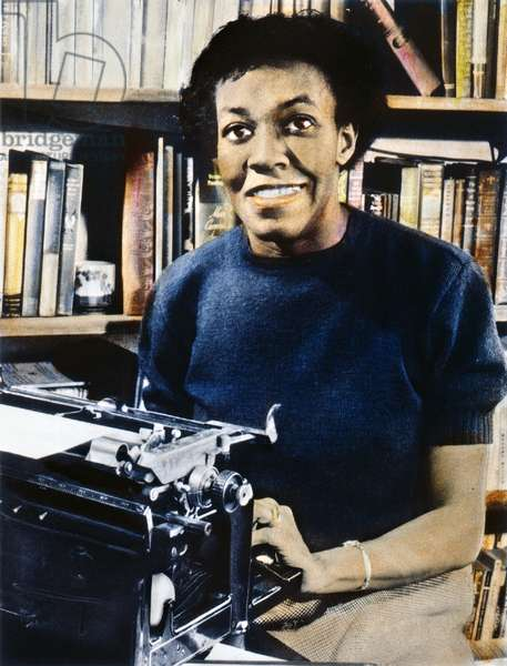 GWENDOLYN BROOKS (1917-2000). American poet. Oil over a photograph, 1950, at the time of her winning the Pulitzer Prize for poetry.