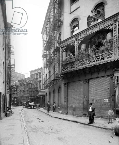 NEW YORK CITY: CHINATOWN A view of Doyers Street in Chinatown, New York City. Photograph, c.1905.