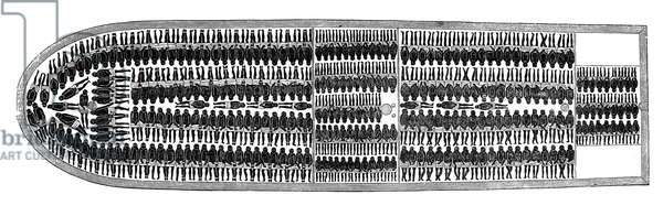 SLAVERY: SLAVE SHIPS The loading plan of a slave deck, seen from above: wood engraving, 19th century.