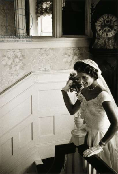 JACQUELINE KENNEDY (1929-1994). Wife of President John F. Kennedy. Photographed before the bouquet toss on her wedding day, 12 September 1953. Photograph by Toni Frissell.