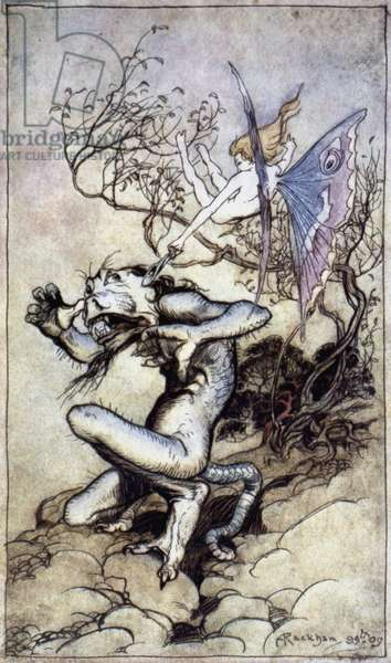 SHAKESPEARE: THE TEMPEST Caliban and Ariel. Pen and ink by Arthur Rackham, 1899-1906.