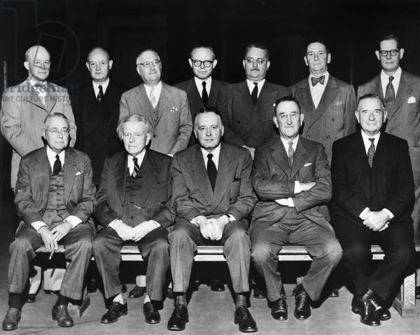 PULITZER ADVISORY BOARD Group portrait of the Pulitzer Prize Advisory Board, consisting of American newspaper publishers and editors, photographed at the Low Memorial Library at Columbia University in New York City during their final meeting before making recommendations to the Columbia trustees, 25 April 1952.