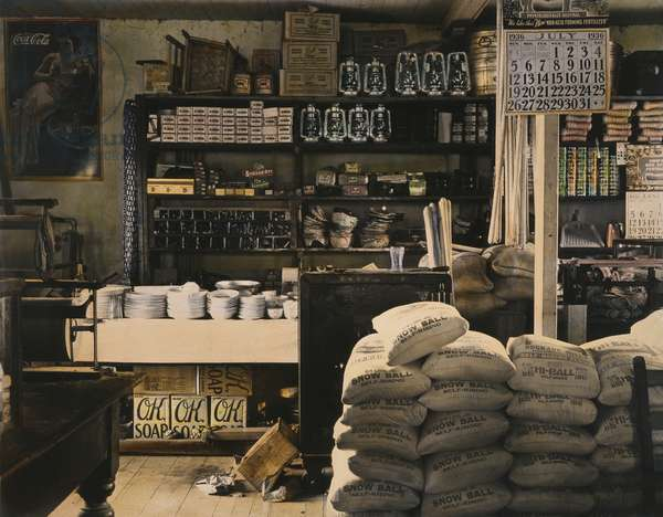 GENERAL STORE, 1936 An interior of a general store in Moundville, Alabama. Photograph by Walker Evans in July 1936.