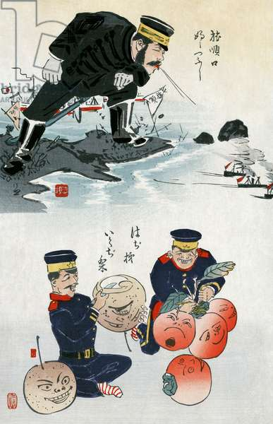 JAPANESE CARTOON, c.1895 A Japanese cartoon showing Chinese military tactics. Color woodcut by Kobayashi Kiyochika, c.1895.