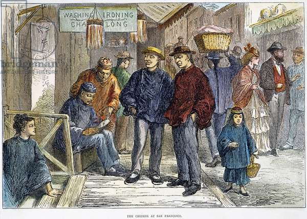 SAN FRANCISCO: CHINATOWN Street scene in San Francisco's Chinatown. Wood engraving, American, 1875.