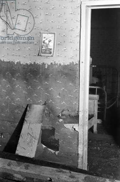 TENNESSEE: FLOODED HOUSE Interior of a flood damaged farmhouse near Ridgeley, Tennessee. Photograph by Walker Evans, February 1937.