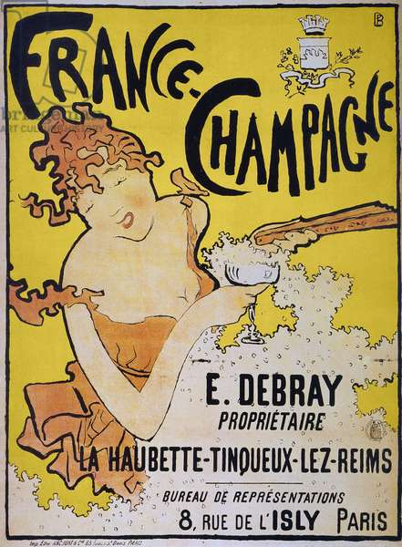 CHAMPAGNE POSTER, 1891 'France-Champagne.' French lithograph advertising poster by Pierre Bonnard, 1891, for the Champagnes of E. Debray.