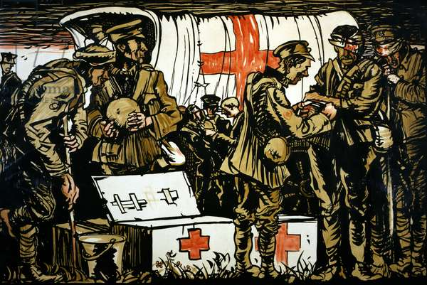 RED CROSS POSTER, 1915 British Red Cross poster showing a crowd at a Red Cross aid truck during World War I. Lithograph, 1915.