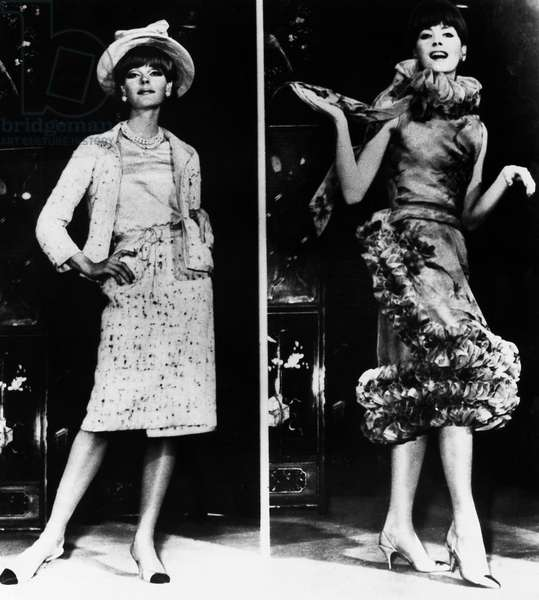 CHANEL DRESSES Woman modelling dresses designed by Coco Chanel, 1960s.