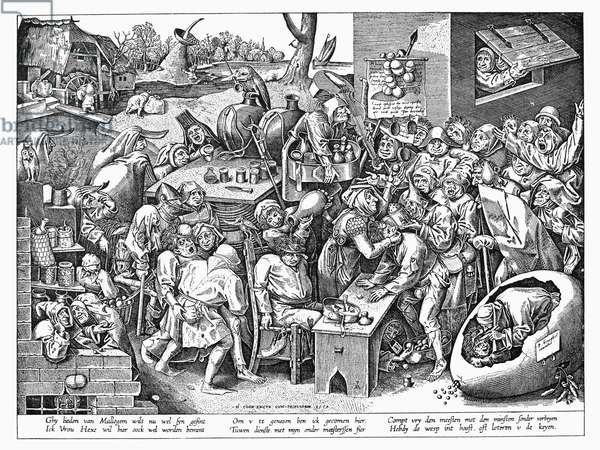 BRUEGEL: WITCH, 1559 'The Witch of Malleghem.' Copper engraving, 1559, by Pieter van der Heyden after Peter Brueghel the Elder.
