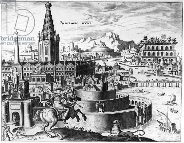 BABYLON: HANGING GARDENS The city of Babylon and the hanging gardens, one of the Seven Wonders of the World. Engraving from 'Diversarum Imaginum Speculativarum,' published by Joannes Gallaeus at Antwerp, 1638.