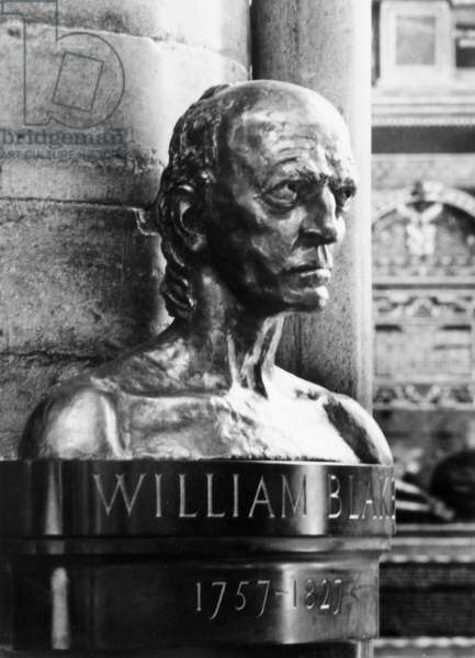 WILLIAM BLAKE (1757-1827) English poet, artist and mystic. Bronze bust by Sir Jacob Epstein placed in the Poet's Corner of Westminster Abbey, London, in 1957 to commemorate the bicentenary of Blake's birth.