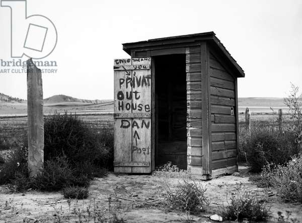 NEBRASKA: OUTHOUSE, 1939 Outhouse at Dawes County, Nebraska, photographed in 1939 by Arthur Rothstein.