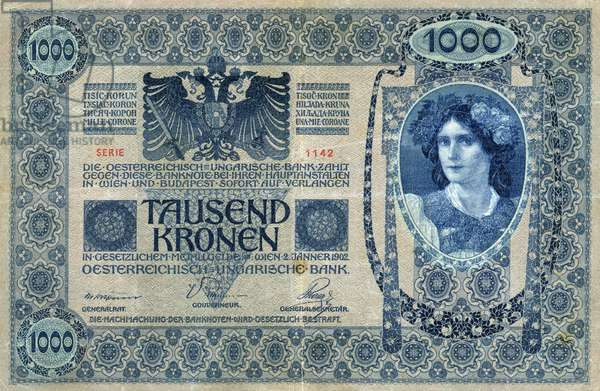 AUSTRIA: BANKNOTE, 1902. Banknote for 1000 kronen issued in the Austro-Hungarian Empire by the Austrian-Hungarian Bank, 2 January 1902.