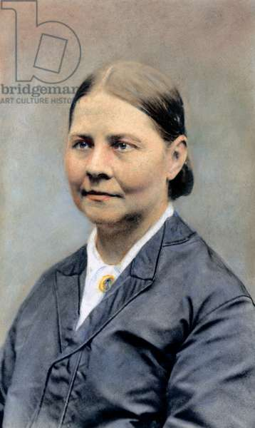 LUCY STONE (1818-1893) American woman suffragist. Oil over a photograph.