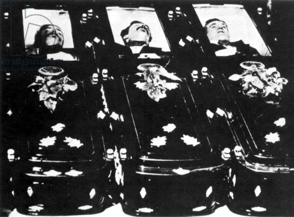 OK CORRAL GUNFIGHT, 1881 Three outlaws killed by Wyatt Earp, his brothers, Virgil and Morgan, and John 'Doc' Holliday. From left: Billy Clanton and the brothers Frank and Tom McLaury. The bodies were displayed in the plate-glass window of a Tombstone hardware store after the Tombstone gunfight, 26 October 1881.
