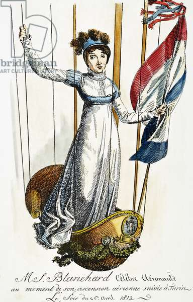 BLANCHARD: ITALY, 1812 Madame Jean Pierre Blanchard rising in a balloon above Turin, Italy, in 1812: contemporary French coloured  engraving.