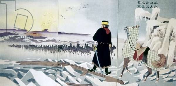 SINO-JAPANESE WAR, 1895 Japanese troops invade the North China peninsula. Woodblock print, triptych, 1895, by Kobayashi Kiyochika.