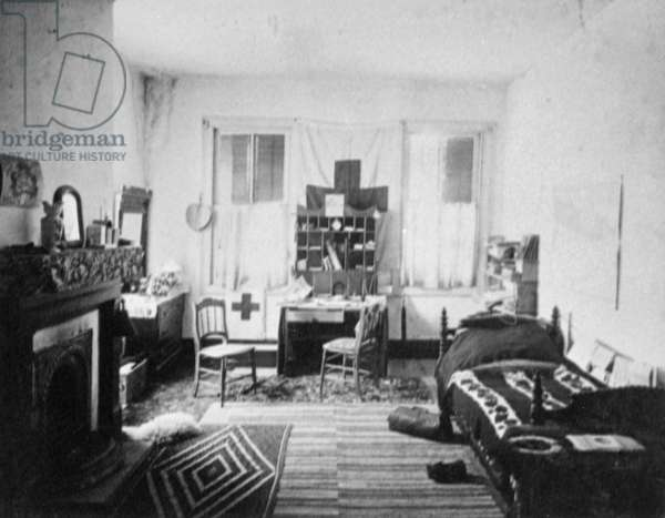 RED CROSS HEADQUARTERS Red Cross founder Clara Barton's room at the Red Cross Headquarters in Beaufort, South Carolina. Photograph, c.1893.