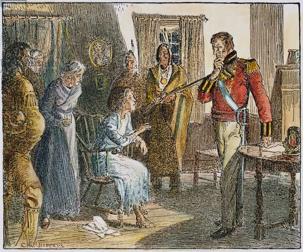 LAURA SECORD WARNING, 1813 Laura Secord warning the British Lieutenant James Fitzgibbon at Beaver Dams, Canada, about the intended American surprise attack, June 1813. Illustration, 19th century.