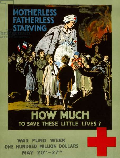 RED CROSS POSTER, 1917 American Red Cross fundraising poster with a Red Cross nurse among French children. Lithograph, 1917.