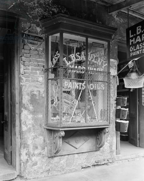 NEW ORLEANS: STOREFRONT Exterior view of a hardware store at 906 Bourbon Street, New Orleans, Louisiana. Photographed by Frances Benjamin Johnston, c.1938.