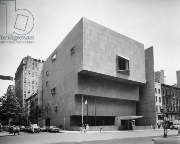 NEW YORK: WHITNEY MUSEUM The Whitney Museum of American Art at Madison Avenue and 75th Street in Manhattan, designed by Marcel Breuer. Photograph, c.1970.