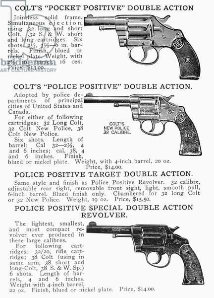 COLT REVOLVERS Page from an Abercrombie and Fitch catalog advertising various Colt double action revolvers, early 20th century.