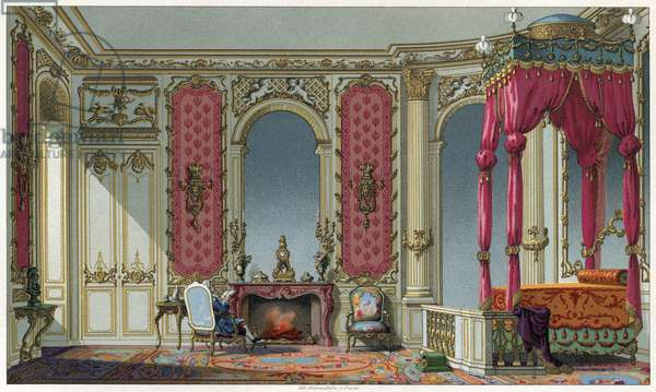BEDROOM, c.1750 A Rococo bedroom in a French home. Lithograph, c.1875.