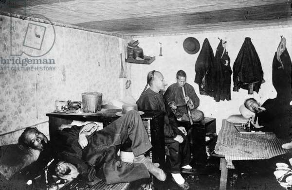 CHINATOWN: OPIUM, c.1921 Opium smokers at a den in Chinatown, San Francisco. Photographed c.1921.