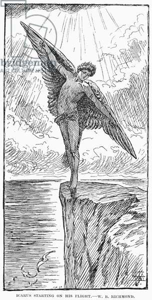 ICARUS Line engraving, 1887, after Sir William Blake Richmond.