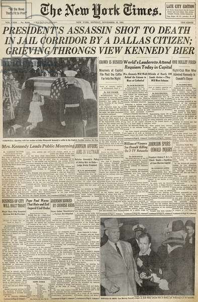 KENNEDY ASSASSINATION, 1963 Front page of the New York Herald Times, 25 November 1963, the funeral of Kennedy and the assassination of suspect Lee Harvey Oswald.