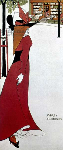 BEARDSLEY: POSTER DESIGN A fashionably dressed young woman approaching a book store. Illustration by Aubrey Beardsley for an advertising poster for a London book publisher, c.1895.