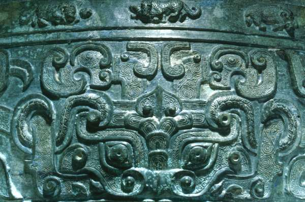 CHINA: BRONZE WINE VESSEL Detail of a bronze wine vessel, Eastern Zhou dynasty, early 5th century B.C.