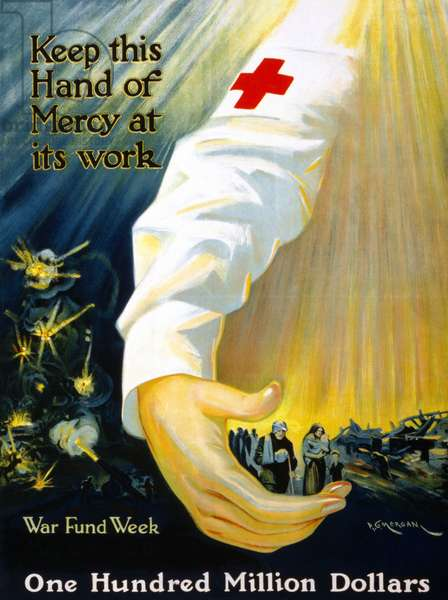 RED CROSS POSTER, 1918 American Red Cross fundraising poster promoting war funds. Lithograph, 1918.