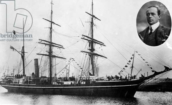 TERRA NOVA EXPEDITION Captain Robert Falcon Scott and his ship, 'Terra Nova,' during the expedition to the South Pole, c.1910.
