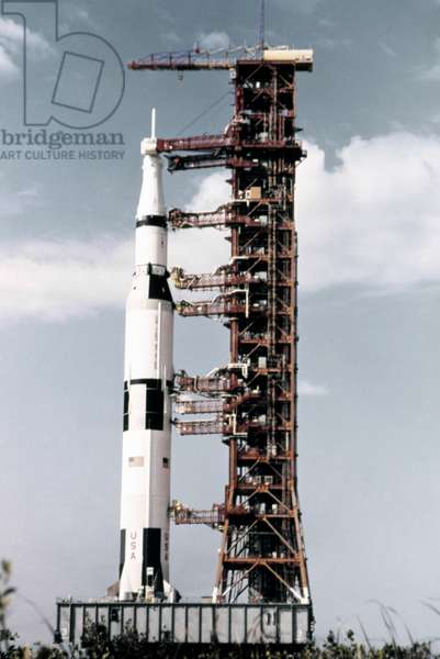 APOLLO 13: ROLLOUT, 1970 The Saturn V/Apollo 13 on the launch pad at the Kennedy Space Center in Florida. Photograph, 1970.
