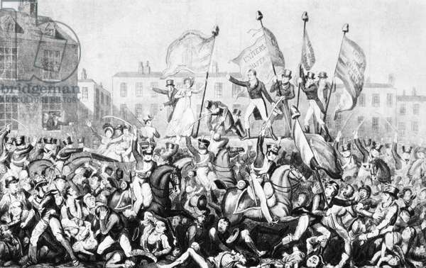 PETERLOO MASSACRE, 1819 The violent repression of the working-class demonstration for parliamentary reforms in St. Peter's Fields, Manchester, August 1819 caused this incident to be ironically called the Peterloo Massacre.