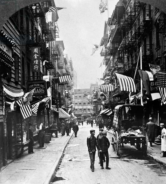 NEW YORK : CHINATOWN, 1909 Doyers Street in New York's Chinatown in lower Manhattan. Stereograph, 1909.