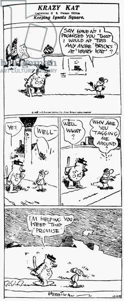 KRAZY KAT, 1929 A 'Krazy Kat' comic strip by George Herriman, 1929.