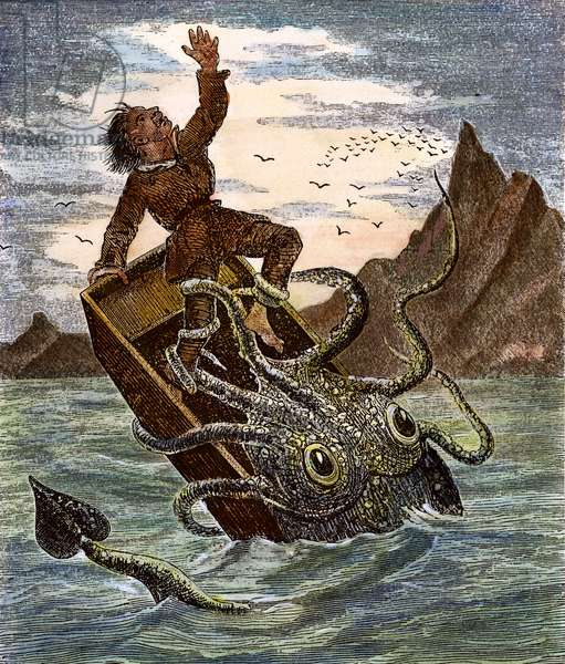 GIANT SQUID, 1879 Attacking a fisherman. coloured  engraving, 1879.
