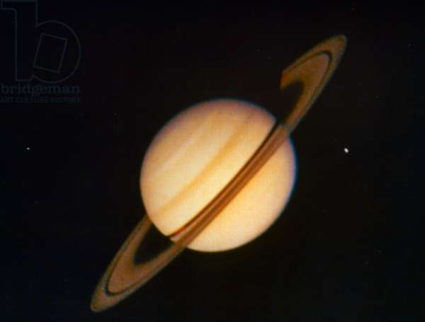 SATURN The planet Saturn, photographed from a NASA spacecraft, c.1980.