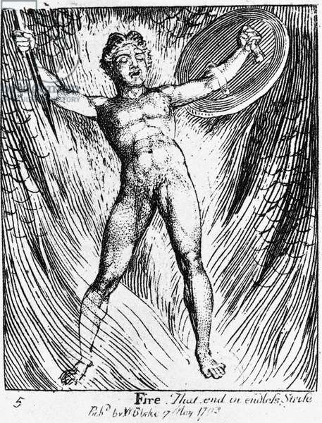 WILLIAM BLAKE: FIRE, 1793 William Blake's 'Fire,' from the 'Gates of Paradise.' Engraving, 1793.