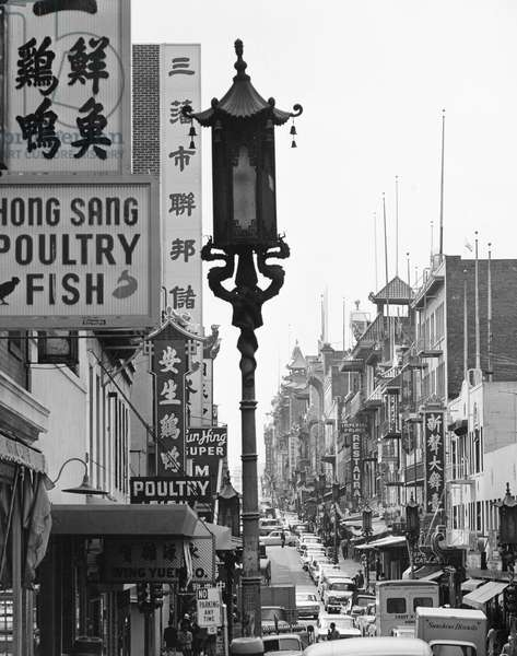 SAN FRANCISCO: CHINATOWN Grant Street in Chinatown, San Francisco, California. Photograph, c.1965.