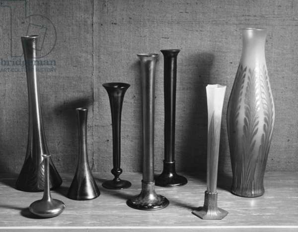 TIFFANY VASES Glass vases by Louis Comfort Tiffany. Photograph, c.1955.