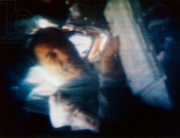 APOLLO 13, 1970 Astronaut John L. Swigert in flight during the Apollo 13 mission. Photograph from live color television transmission, 12 April 1970.