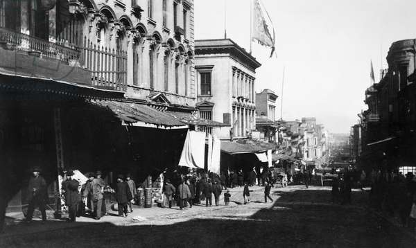 SAN FRANCISCO: CHINATOWN Street scene in Chinatown, San Francisco, California. Photograph, c.1890.