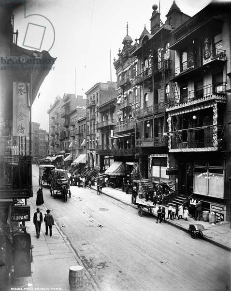 NEW YORK: CHINATOWN, c.1900 Mott Street in Chinatown, lower Manhattan, c.1900.