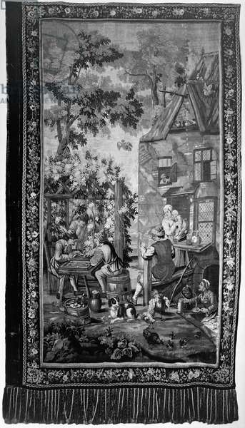 TAPESTRY: BACKGAMMON European tapestry depicting a scene of daily life and two men playing backgammon, 17th or 18th century.