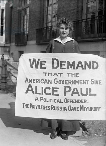 LUCY BRANHAM (1892-1966). American suffragist and leader of the National Woman's Party. Protesting the imprisonment of fellow suffragist Alice Paul. Photograph, 1917.